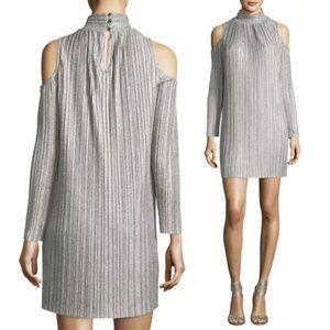 Maggy London Cold-Shoulder Plisse Trapeze Dress L